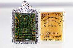 Phra Somdej Sairung Thai Amulett von Luang Pho Pae mit Silberfassung.