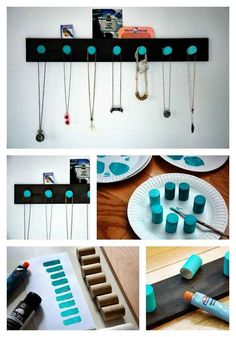Ombre Wooden Pegs | 25 Clever DIY Ways To Keep Your Jewelry Organized