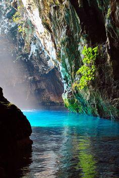 Melissani cave Greece by Hannu Nevanoja