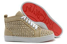 5dfe42b8b629 Christian Louboutin Pink Leather Louis Gold Sharp Nail Spiked High Top  Louboutin Pas Cher