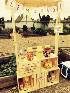 DIY easy Lemonade Stand using a few box crates and wood.