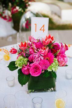 pink + green centerpiece | Bethany & Dan #wedding