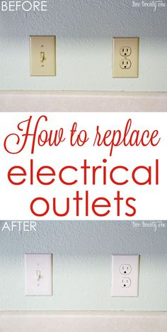to Replace Electrical Outlets Get rid of those outdated almond-colored outlets! How to replace electrical outlets!Get rid of those outdated almond-colored outlets! How to replace electrical outlets! Do It Yourself Furniture, Do It Yourself Home, Home Upgrades, Home Improvement Projects, Home Projects, Home Renovation, Home Remodeling, Diy Spring, Spring Crafts