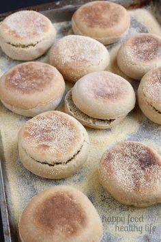 Homemade Whole Wheat English Muffins - Happy Food, Healthy Life Whole Wheat English Muffin, English Muffin Recipes, Homemade English Muffins, Real Food Recipes, Cooking Recipes, Yummy Food, Delicious Recipes, Vegetarian Recipes, Bread Machine Recipes