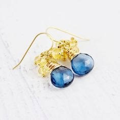 Blue Quartz and Citrine Gemstone Earrings