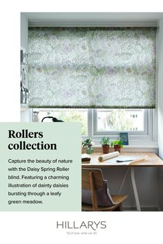 This space looks blooming lovely, here we are continuing the organic, natural theme of the wooden desk and pot plants in this home office, our Daisy Spring Roller blind brings a cheery charm to the room. With happy pastel tones of green, lilac and yellow, we love how the floral pattern livens up this creative space. View our inspiration on Roller blinds.