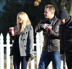 Jennifer Morrison and Josh Dallas on the set of OUAT 4.13 Unforgiven BTS (December 2)