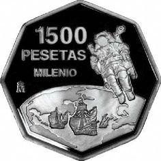 1500 Pesetas 1999 Cambio de Milenio. Madrid Legos, Madrid, Coins, Old Things, Sailing, Paper, Door Bells, Past Tense, Souvenirs