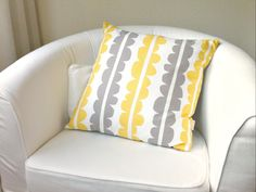 Throw Pillow Cover - Scandinavian Stones in Gray and Yellow. $42.00, via Etsy.