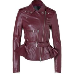 MCQ BY ALEXANDER MCQUEEN Leather Jacket with Peplum in Oxblood found on Polyvore