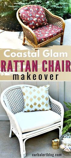 It's such a  good feeling when a project comes together quickly and ends up the way you really wanted it to.  Take a peek at how easy it was to update this rattan chair: a quick makeover with a big effect!  #rattanchair  #chair #makeover #furnituremakeover #diyhomedecor