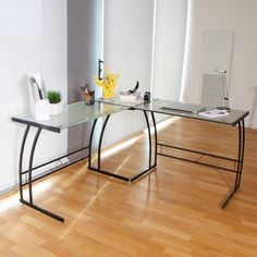 Expand your workspace and your style with this L-shaped home office desk. An inspired choice for an ultra-modern look, it pairs a sturdy metal frame with frosted glass top for maximum minimalism. Home Office Desks, Home Office Furniture, Office Decor, Office Inspo, Office Ideas, Furniture Ideas, Corner Workstation, Glass Desk, Glass Corner Desk