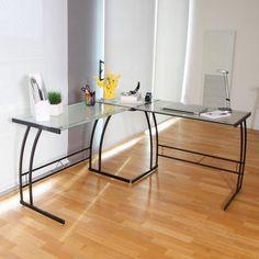LumiSource Gamma Contemporary Corner Desk - OFD-TM-BITDBL W