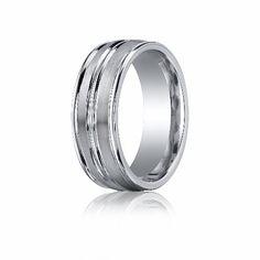 CobaltchromeTM 8mm Comfort-Fit Satin-Finished High Polished Center  Round Edge Design Ring (Size 6-14) -