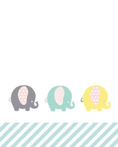 Free Elephants Nursery Wall Decor Printable
