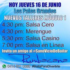 Hoy jueves 16/6 inician: 4:30pm #SalsaCero 4:30pm #Merengue 5:30pm #SalsaCasino 7:00pm #SalsaEnLinea  Invita un amigo al #SanoVicioDeBailar  #Rumbacana #BailaParaDivertirte