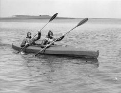 2 British Navy frogmen paddle 1 of the canoes; they were the underwater experts who blasted a hole in the Nazi's Atlantic Wall to enable invasion crafts to reach the Normandy beaches on D-Day. Source: Imperial War Museums, # A D Day Invasion, Irish Catholic, Normandy Beach, Odd Stuff, Canoes, World War Ii, Paddle, Museums, Ww2