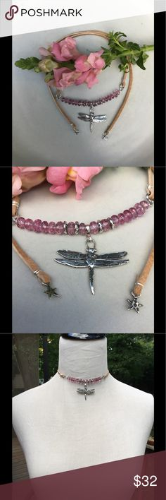 """SOLD💥Pink Amethyst & Sterling Dragonfly Choker This is so lovely for summer! I used genuine, faceted AAA grade, pink amethysts (5mm) to highlight the sterling silver dragonfly. The cord is genuine suede and the spacer beads and stars are also sterling silver. Length is 27"""", size is adjustable. Comes with my signature, feathered gift box! brindleracerdesigns Jewelry Necklaces"""