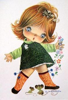 Vintage Big Eyed Girl Postcard by Gallarda