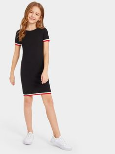 To find out about the Girls Striped Tape Bodycon Dress at SHEIN, part of our latest Girls Dresses ready to shop online today! Teenage Girl Outfits, Kids Outfits Girls, Cute Girl Outfits, Girls Fashion Clothes, Teen Fashion Outfits, Cute Casual Outfits, Girl Fashion, Tee Dress, Bodycon Dress
