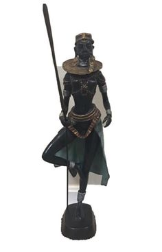 "Bronze Female Zulu Warrior Statue 24"" Tall With Spear Traditional African Art 