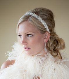 Bridal Headband Bridal Ribbon Headband Wedding by PowderBlueBijoux, $75.00
