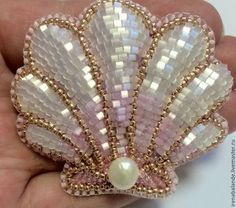 """Броши ручной работы. Брошь """"Seashell"""". Ирена Баланде. Интернет-магазин Ярмарка Мастеров. Розовый, бисер японский"""