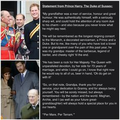 """👑Meghan,Harry & Archie👑 on Instagram: """"#NEW Prince Harry has written a tribute to his grandpa Prince Philip on behalf of Harry and his family ❤ . . . . . . . . . . . . . . .…"""" Meghan Markle Prince Harry, Prince Philip, Archie, Royals, Writing, Sayings, Instagram, Humor, Lyrics"""