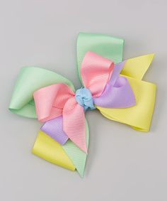 Picture Perfect Hair Bows Pink & Yellow Pastel Bow Clip