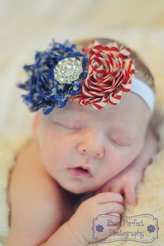 Stars and Stripes Print Double Shabby Flower Headband - Independence Day Photo Prop - Newborn Infant Hairbow