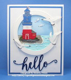 Naifumodo Lighthouse Dies Metal Cutting Dies New 2019 for Card Making Scrapbooking DIY Album Embossing Paper Stencil Craft Dies New Crafts, Paper Crafts, Album Diy, Big Shot, Nautical Cards, Beach Cards, Marianne Design, Masculine Cards, Diy Scrapbook