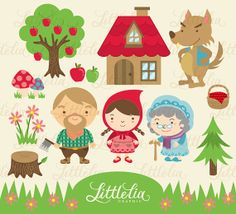 Little Red Riding Hood Clipart 13008 by LittleLiaGraphic on Etsy, $3.60