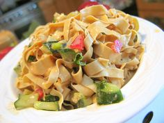 Bean Curd Skin (Yuba) Noodles with Spicy Peanut/Sesame Sauce by jasonperlow, via Flickr