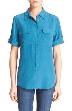 EQUIPMENT 'Slim Signature' Short Sleeve Silk Shirt. #equipment #cloth #