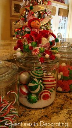 Adventures in Decorating: Whimsical Christmas Kitchen - Love the Jars filled with gum drops and Christmas balls...