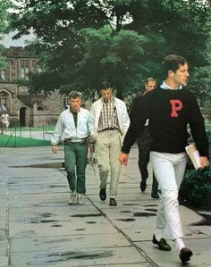 This is an example of casual wear for men during this decade. Khakis as casual wear started to become popular during this time period, and above, men are wearing khakis while on a college campus. (Emily G)