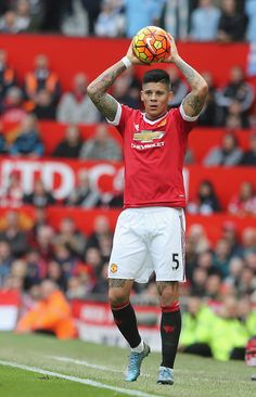 Marcos Rojo of Manchester United in action during the Barclays Premier League match between Manchester United and Manchester City at Old Trafford Manchester United Players, Manchester City, Man Utd Fc, Manchester United Wallpaper, Fc 1, Premier League Champions, Soccer Skills, Barclay Premier League, English Premier League