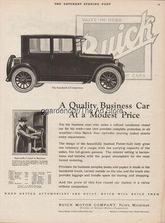 1923 Buick Motor Car Co Flint MI ~ Antique Closed Touring Car General Motors Ad