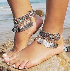 Tribal Ankle Bracelet~Turquoise Cross Native Made Anklet~Bohemian Anklet Turquoise~Native American Anklet~Boho Ankle Bracelet~Southwest Blue Anklet Jewelry, Anklets, Jewellery, Boho Mode, Beach Feet, Beach Foot Jewelry, Silver Jewelry Box, Silver Earrings, Silver Ring
