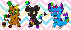 Some Jewelpuff Monsters I made up for adoption on DA, no one has adopted one yet.