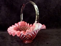 "Classic Fenton Cranberry Red Hobnail Pink Ruffled Edge 8"" Art Glass Basket"