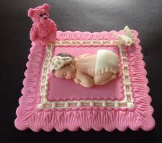 Fondant baby girl on a pink blanket cake topper, Baby shower , Birthday