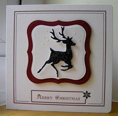 handmade Christmas card ... black and white ... die cut dear .. square card ... elegant simplicity ...