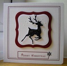 handmade Christmas card ... black and white ... die cut dear .. square card ... elegant simplicity ...