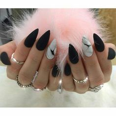 Matte Black Stiletto Nails + White Marble Accent Nail – Best Beauty images in 2019 Nail Art Designs, Marble Nail Designs, Black Nail Designs, Acrylic Nail Designs, Nails Design, Design Art, Design Ideas, Black Stiletto Nails, Matte Black Nails