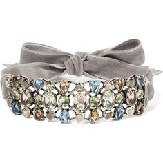 LanvinGinger Velvet, Silver-tone And Crystal Choker (€1.315) ❤ liked on Polyvore featuring jewelry, necklaces, grey, ribbon choker, velvet choker, ribbon necklace, silver tone necklace and ribbon jewelry