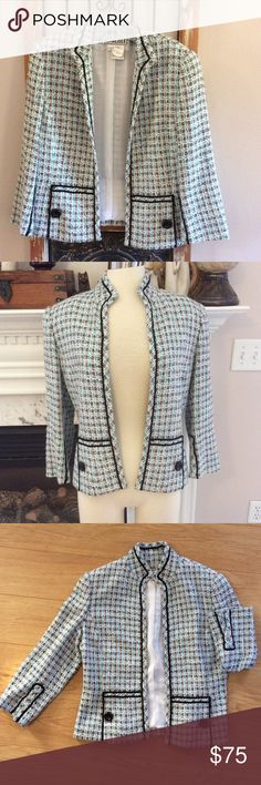 CARLISLE blue tweed prof casual blazer career Here's another exceptional jacket I'm selling from Carlisle.  This is size 8 and is a blue/white/black with a few specks of tan. This is a great basic staple item for the lady that likes to stand out from the rest. Pairs perfectly with slacks, over a dress or skirt. It's been worn 1x and just prof drycleaned. Completely lined, great black stitching detail and buttons, 3/4 sleeve w/slit cuff. Can be worn turned up or left down. Make an offer…