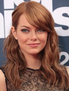 Hairstyles For Big Foreheads - Wavy Side Swept Bangs