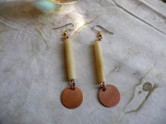 Simple Recycled Bone Tube and Raw Copper Disc Dangle Drop Earrings