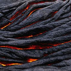 """Memorizing ropey lava (pahoehoe). Could watch this all day!  Why is it so ropey? ....The numerous folds and wrinkles (""""ropes"""") that are characteristic of ropy pahoehoe form when the thin, partially solidified crust of a flow is slowed or halted (for example, if the crust encounters an obstruction or slower-moving crust). Because lava beneath the crust continues to move forward, it tends to drag the crust along. The crust then behaves like an accordian that is squeezed together--the crust is…"""